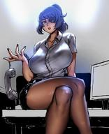 Pantyhose breasts clavicle collared_shirt crossed_legs desk dress_shirt eu03 eyepatch grey_eyes hair_intakes holding holding_phone huge_breasts kinucakes miniskirt monitor nail office office_lady on_desk original phone ponytail purple_hair shirt sitting sitting_on_desk skirt thick_thighs thighs tied_hair // 880x1083 // 123.3KB