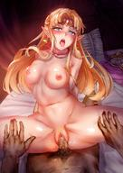 1boy 1girl areolae artist_request blonde_hair blue_eyes blush breasts earrings girl_on_top jewelry long_hair male_pubic_hair navel necklace nintendo nipples nude open_mouth penis pointy_ears pov princess_zelda pubic_hair pussy pussy_juice saliva sex sweat the_legend_of_zelda tiara tongue_out uncensored vaginal // 1080x1528 // 236.2KB