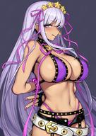 1girl bb_(fateextra_ccc) bb_(swimsuit_mooncancer)_(fate) belt bikini black_gloves blush breasts evan_yang fategrand_order fate_(series) fingerless_gloves garter_belt garter_straps gloves hair_ornament hair_ribbon highres large_breasts long_hair looking_at_viewer nail_polish navel purple_bikini purple_eyes purple_hair ribbon short_shorts shorts smile solo star star_hair_ornament swimsuit tan tongue tongue_out very_long_hair // 1080x1528 // 301.3KB