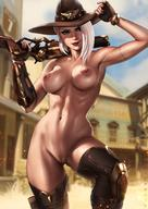1girl adjusting_clothes adjusting_hat archway_of_venus areolae arm_tattoo armored_boots armpits artist_name ashe_(overwatch) asymmetrical_hair black_nails blizzard_entertainment blue_sky blurry blurry_background boots bracelet breasts breasts_apart clavicle cleavage closed_mouth cowboy_hat cowboy_shot dandon_fuga day depth_of_field earrings erect_nipples exhibitionism explosive eyeshadow female female_only female_solo fingerless_gloves fingernails gloves grenade gun hair_behind_ear hat high_resolution hips holding holding_gun holding_weapon hollywood_(map) jewelry knee_up labia large_breasts light_smile lips lipstick looking_at_viewer makeup medium_breasts medium_hair mole_above_mouth nail_polish navel nipples nude outdoor_nudity outdoors over_shoulder overwatch paid_reward paipan patreon_reward pose red_eyes red_lipstick rifle shiny shiny_skin silver_hair skull_earrings sky slender_waist smile solo standing tattoo thigh_boots thighhighs thighs toned uncensored vagina vaginal_juice_drip vaginal_juice_trail vaginal_juices very_high_resolution weapon weapon_over_shoulder white_hair // 1280x1810 // 263.8KB
