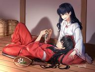 2girls black_hair couple eyes_closed female happy high_resolution higurashi_kagome hizamakura inuyasha inuyasha_(character) inuyasha_(human_form) long_hair male miko open_mouth pixiv_id_13900974 smile sword traditional_clothes wafuku weapon // 1620x1233 // 293.9KB