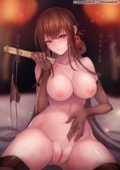 big_breasts breasts brown_hair dsr-50_(girls_frontline) girls_frontline long_hair naked nipples pussy rebe11 stockings thighhighs uncensored // 1280x1811 // 229.2KB