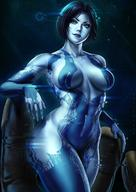 1girl artist_name blue_eyes blue_hair blue_skin breasts breasts_apart clavicle cortana dandon_fuga dark_background dark_blue_hair female halo_(game) hexagon high_resolution hologram lens_flare looking_at_viewer medium_breasts navel open_hand short_hair smile solo_focus stomach // 1080x1527 // 210.0KB