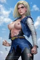 android_18 blonde blue_eyes dragon_ball topoless torn_clothes // 1082x1608 // 258.8KB