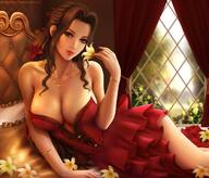 1girl aerith_gainsborough bad_hands bangs bare_shoulders bed blue_eyes blurry bracelet breasts cleavage closed_mouth collarbone curtains day depth_of_field dress feet_out_of_frame final_fantasy final_fantasy_vii flower frills hair_flower hair_ornament holding holding_flower indoors jewelry large_breasts lipstick long_hair looking_at_viewer lying makeup nail_polish necklace on_bed on_side reclining red_flower red_lips red_nails short_dress smile solo strapless strapless_dress watermark wavy_hair web_address window yellow_flower yupachu // 1298x1108 // 195.7KB