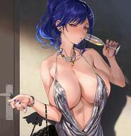 1girl areola_slip areolae asymmetrical_hair azur_lane backless_outfit bag bangs bare_shoulders blue_hair blue_nails bracelet breasts champagne_flute cleavage cup dress drinking_glass earrings evening_gown female hair_between_eyes hair_ornament hairclip halter_dress handbag high_resolution holding holding_cup jewelry large_breasts mhk_(mechamania) nail_polish necklace nipples open-back_dress pink_eyes plunging_neckline ponytail revealing_clothes side_ponytail sidelocks silver_dress st._louis_(azur_lane) st._louis_(luxurious_wheels)_(azur_lane) tied_hair // 1542x1602 // 424.1KB