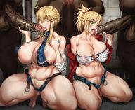 2girls 3boys abcdman123 abs arthur_pendragon_(fate) artoria_pendragon artoria_pendragon_(lancer) bare_shoulders belt blonde braid breasts clothed_female_nude_male curvaceous dark-skinned_male dark_skin daughter edit erect_nipples erect_nipples_under_clothes erection fat_man fateapocrypha fategrand_order fate_(series) fellatio female green_eyes group_sex hairy_legs hetero high_resolution huge_breasts interracial jacket kneeling kunaboto large_breasts large_penis long_hair male male_pubic_hair money mordred_(fate) mother_and_daughter multiple_boys multiple_girls multiple_penises muscle muscular_female nipple_slip nipples nude open_clothes open_fly open_jacket open_shorts oral penis photoshop plump ponytail prostitutes prostitution pubic_hair saber saliva semen sex short_shorts shorts sling_bikini squatting swimsuit tank_top testicles thick_thighs thighs tied_hair tongue tongue_out uncensored unzipped veins veiny_penis // 1200x980 // 232.8KB