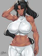 1girl arm_up artist_name belly black_hair breasts brown_eyes cameltoe covered_nipples dark_skin grey_background highres huge_breasts impossible_clothes inverted_nipples long_hair looking_at_viewer midriff muscle navel obui ponytail signature simple_background solo standing thick_eyebrows thighs toned very_long_hair // 1080x1440 // 172.6KB